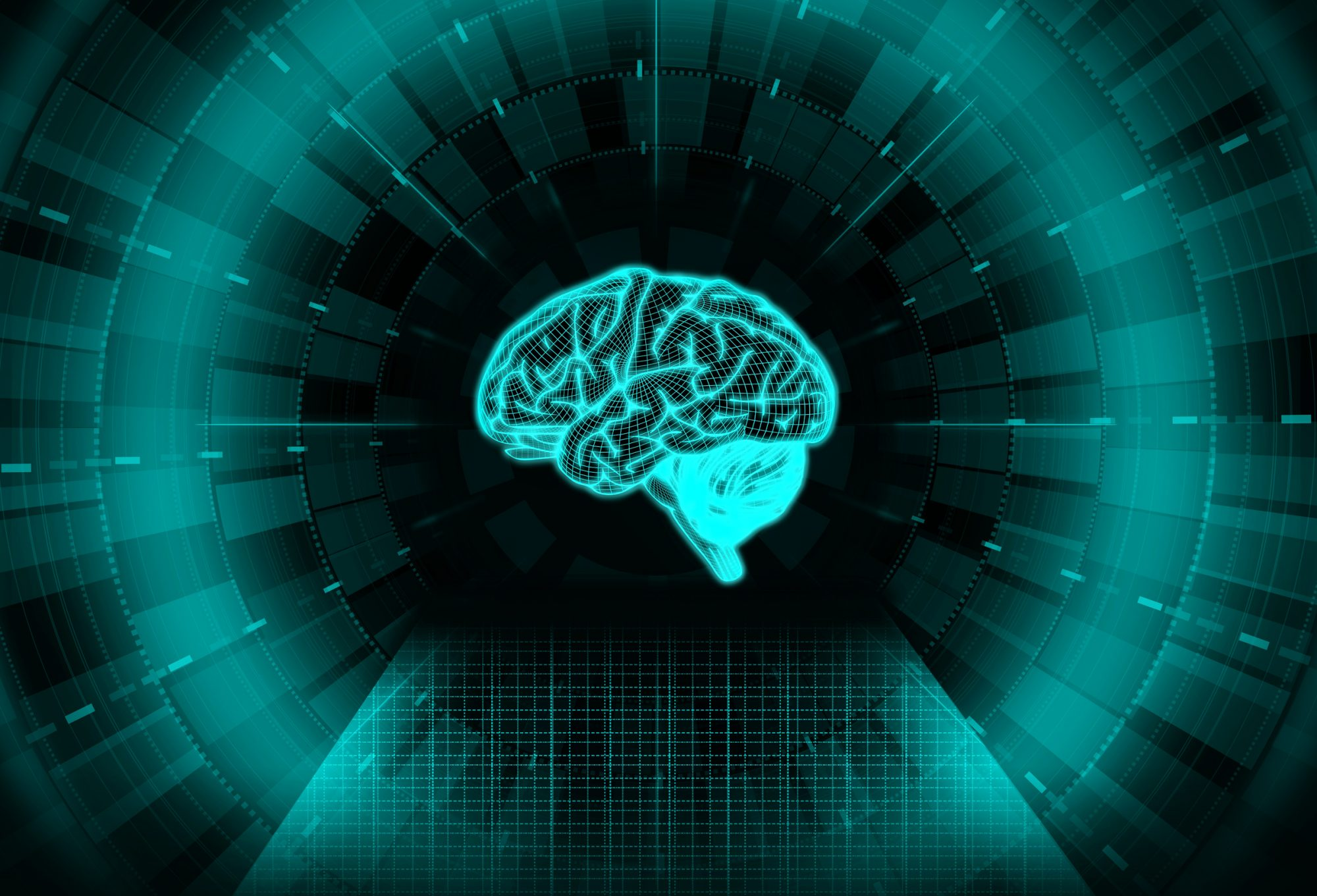 Artificial Intelligence Concept with Virtual Brain